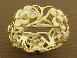 R260 Genuine 18k Solid Gold Natural Diamond Daffodil Eternity Dress Ring Wide