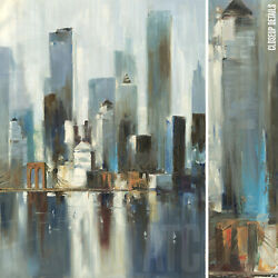 36wx48h New York Heights -manhattan Stretched Oil Painting Reproduction Canvas