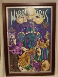 1997 Personalized Autographed Michael Hunt Mardi Gras Framed Poster 39h X 26w