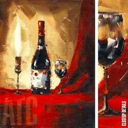 36wx48h Wine Vino Bottle Nielly-style Stretched Oil Painting Reproduction Canvas