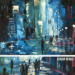48wx36h Cityscape Night-time Street Stretched Oil Painting Reproduction Canvas