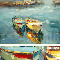48wx36h Lakeside Boats By The Dock -stretched Oil Painting Reproduction Canvas