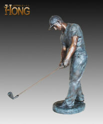 Art Deco Sculpture Golf Player Man Boy Golfer Bronze Statue