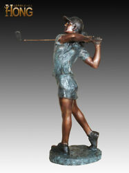 Art Deco Sculpture Golf Player Woman Girl Golfer Bronze Statue