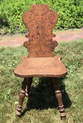 Antique Early 1900s Hand Carved Chair Devil Face Flemish Style Estate Find