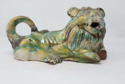 Old Antique Hand Carved Multi-color Decorative  Figurine Ceramic lion statue