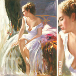 36wx48h Morning Breeze - Pino Daeni-style Oil Painting Reproduction On Canvas