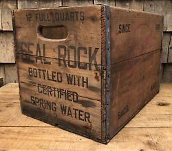 Rare Seal Rock Beverages Saco Maine Soda Drink Wooden Crate Box Sign Display