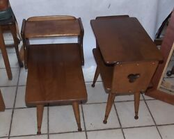 Pair Of Maple Mid Century End Tables / Side Tables By Baumritter T330