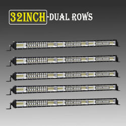 5PCS Dual Row 32INCH LED Light Bar 2040W Driving Offroad Flood Spot Combo Beam