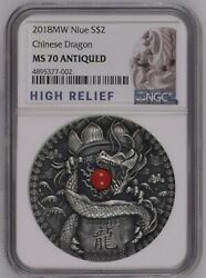 Ngc Ms70 Niue 2018 Chinese Dragon Antiqued Silver Coin 2oz