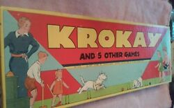 Vintage Krokay And 5 Other Games Lawn Game Set Transogram 1937