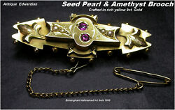 Antique 9ct Rose Gold Brooch Amethyst And Seed Pearl Edwardian Birmingham Hm C1908