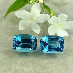 27.14 Cts_stunning German Cut Finest Color 100 Natural Swiss Blue Topaz Pair
