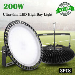 3X 200W Slim UFO LED High Bay Light Warehouse Bright Fixture Factory Lighting