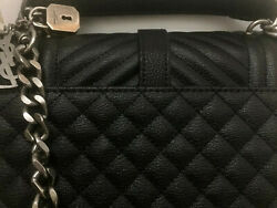Designer Quilted Genuine Leather College Monogram Kate Bag Metal Chain Gothic $180.00