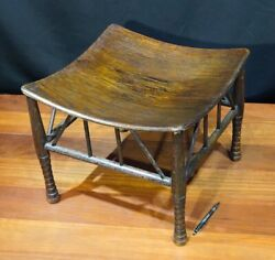 Thebes Stool Arts And Crafts Stained Oak Prob. Liberty And Co Circa 1890