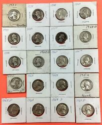 Lot Of 20 Pre 1964 Mixed Years Silver Quarters 25c