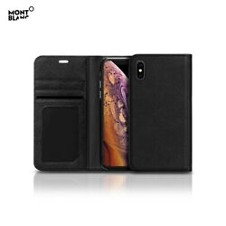 Genuine Montblanc Natural Calf Leather Flip Wallet Cover Case Skin for iPhone XS