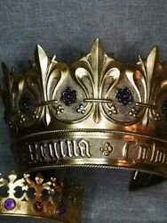 Unique Two Museum Quality Antique Historical Brass Crowns With Gem Stones