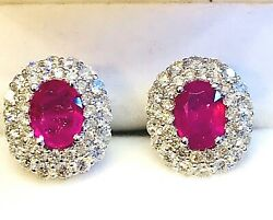 Natural Rubies 2.73ct. & Diamonds 2.28ct. White Gold 18k. Stud Cluster Earrings