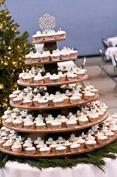 Cupcake Donut Stand (Tower Holder) 6 Tiers Wedding Party Wooden Rustic Bark
