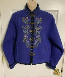 Icelandic Design Wool Jacket Petite S Embroidered Floral Metal Hook Closure