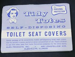 Vintage Tidy Totes Toilet Seat Covers Pack Of 12 Opened Unused Nurse Graphic