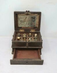 Antique Old Collectible Hand Carved Wooden Perfume Box With Bottles