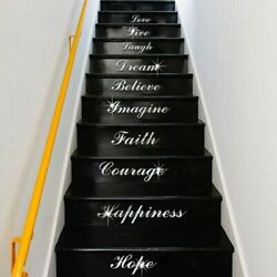 Stairs WordArt Love Live Laugh Dream Mirrored Decor Living Room Wall Stickers