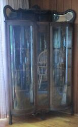 Rare Antique Corner 2 Door Curved Glass Curio China Cabinet Andndash Claw Foot