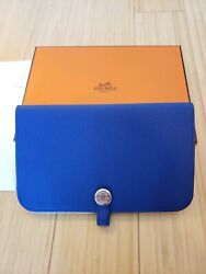 Hermes Dogon Duo Wallet Electric Blue Togo Calfskin Leather With Coin Pouch New