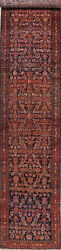 Antique Vegetable Dye Collectible Oriental Hand-knotted 3x17 Runner Rug Carpet