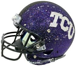 NEW NCAA TCU Horned Frogs Helmet Made with Swarovski® Crystals + Case