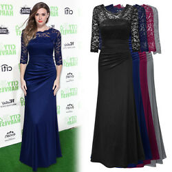 Women 3 4 Sleeve Satin Lace Gown Long Evening Galas Prom Formal cocktail dress $36.79