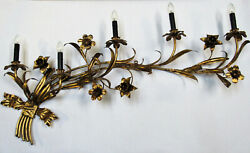 Vintage Huge Italian Tole Wall Sconce Gold Gilt 48 Wide 5 Light Rewired