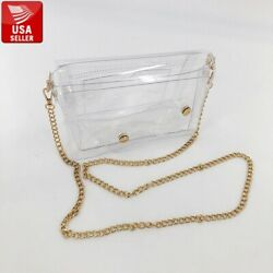Transparent PVC Clear Shoulder bag Clutch Cellphone Cell Phone Pocket gold chain $4.99