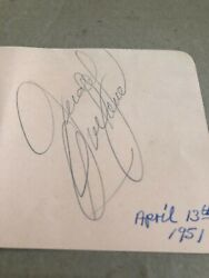 Judy Garland Autographed Index Card Deceased Rare