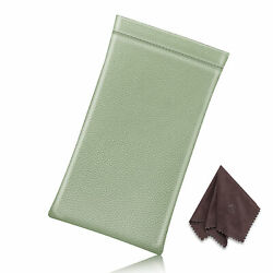 Portable Vegan Leather Soft Glasses Case Sunglasses Bag with Cleaning Cloth $7.09