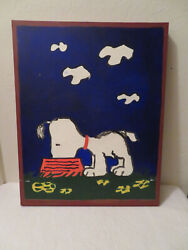 Vintage Snoopy Eating From Dog Dish Original Painting