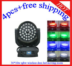 3610w Rgbw 4 In 1 Wireless Dmx Led Moving Head Zoom Light 4pcs Free Shipping