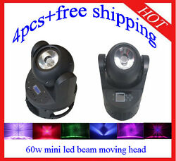 60w Endless Rotation Led Moving Head Beam Stage Party Light 4pcs Free Shipping