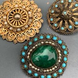Vintage Israel Silver Filigree Pin Brooch Collection Lot Of 3 - Asis