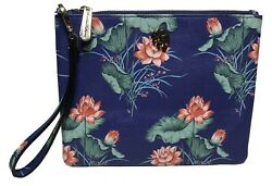 Tommy Bahama Woman#x27;s Leather Clutch Navy Blue Floral $16.00