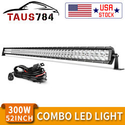 52''inch 300w Led Light Bar Spot Flood Combo Driving Offroad For Jeep Truck Suv