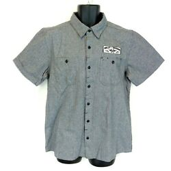 Harley-davidson Men's Large Gray Striped Short-sleeve Patches Button-down Shirt