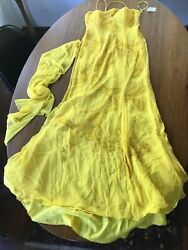 NEW YELLOW Beaded Gown W Shawl RIVA DESIGNS  sz 12 Wedding Prom Party Cruise