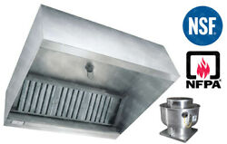 8and039 Ft Restaurant Commercial Kitchen Exhaust Hood With Captiveaire Fan 2000 Cfm