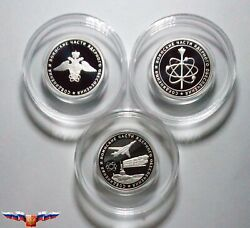 Russia 1 Ruble 2019 Army Nuclear Support Units 3 Silver Coins 1/4 Oz Proof