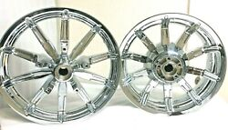 Harley Chrome Front And Rear Impelar Wheels Electra Glide Ultra Glide 04-19